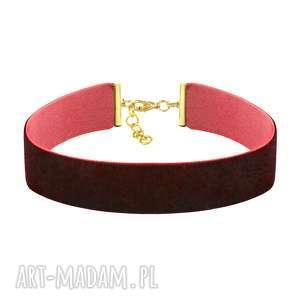 choker wide - burgundy velvet, bordo, choker, prezent, aksamit, święta