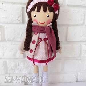 ręcznie robione lalki malowana lala wiktoria z szalikiem