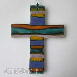 dekoracje kolorowy krzyżyk ceramiczny 2, krzyż, z-ceramiki, na-chrzest, upominek