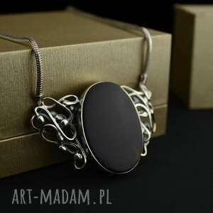 Retro kolia z drewnem egzotycznym srebro naszyjniki barbara