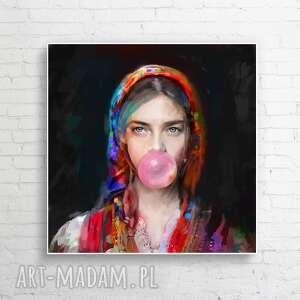 dekoracje obraz lady folk 3 100x100 cm, obraz, plakat, dom, dekoracje, prezent