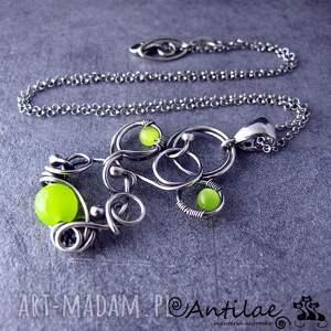 Udzu - jadeit, kocie oko, wire wrapping, srebro, naszyjnik
