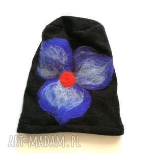 czapka wełniana filcowana czarna na podszewce, czapka, etno, boho, wełna, kolorowa