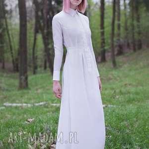 Jedwabna biała, ślubna, koszulowa, ecru, jedwab, guziki