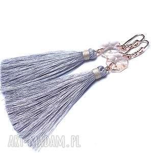 BOHO /grey and silk/ - kolczyki, chwosty, boho, długie, swarovski, srebro