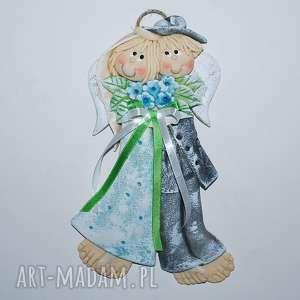 niezapomniany z niezapominajkami dzień anioły ślubne, anioły, dekoracja, prezent