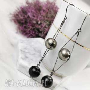 naszyjniki długie kolczyki z kulami agatu a817, srebrne