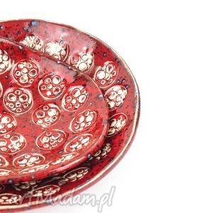 wyjątkowy prezent, miski czerwone dwie, ceramika, miski, komplet