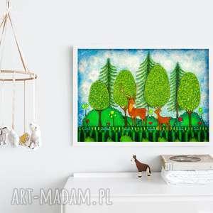jelonki - jelonek, jeleń, plakat, ilustracja, obrazek