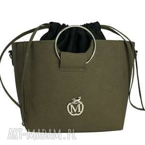 torebka manzana z kółkiem i ściąganym workiem oliwka, torebka, torba, kuferek, damska