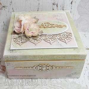 ręcznie robione scrapbooking kartki pudełko ślubne z przegródkami