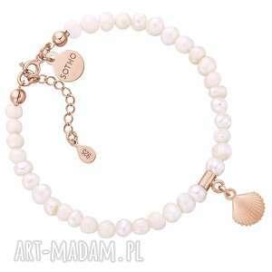 hand made bransoletki bransoletka z pereł naturalnych z muszelką z różowego złota