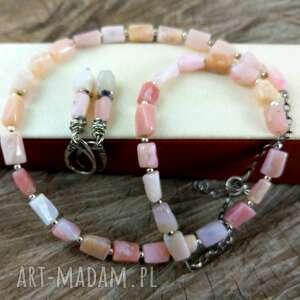 Opal różowy biżuteria onyksela opal, peruwiański,