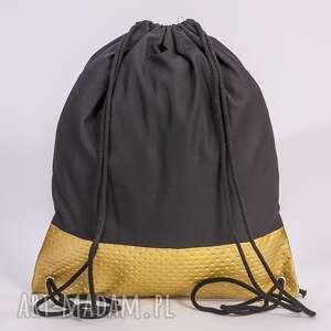 Złoty perforowany, złoty, pikowany, worek, plecak