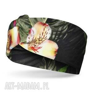 opaski lekka opaska wiosenna z bawełny w liście i kwiaty, na głowę