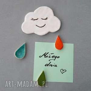hand made magnesy chmurka i krople-magnesy ceramika