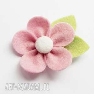 spinka do włosów kwiatek różowy, kwiatek, włosów, ozdoba, filc, dziewczynka