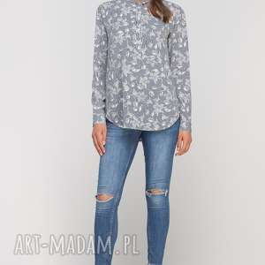 Koszula ze stójką, K107 szary, casual, elegancka, stójka, print, wzór, dłuższa