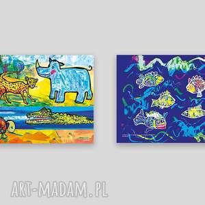 2 plakaty dla dzieci, zwierzęta plakaty, śmieszne do pokoju