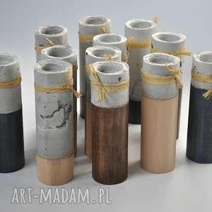 komplet 4 świeczników - cement podparty drewnem, drewno, cement, adwent