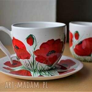 ceramika filiżanka i mlecznik ręcznie malowana maki
