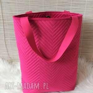 na ramię torba shopperka fuksja, torba, torebka, damska, shopper