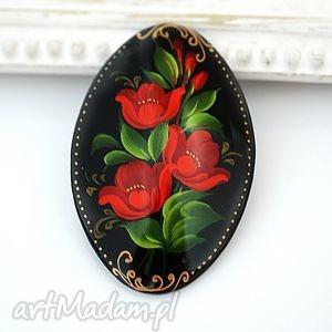 ♥ręcznie malowana drewniana broszka♥ - czarne broszki