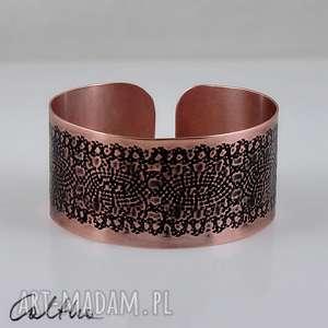 mozaika - miedziana bransoletka, bransoleta, miedź, miedziana, metalowa