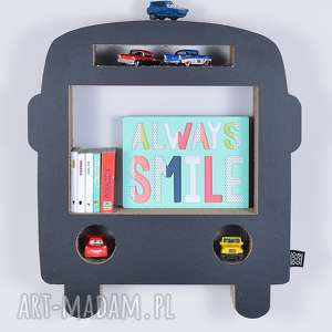 Półka na książki zabawki BUS ecoono | czarny, półka, chłopiec, dziewczynka, organizer