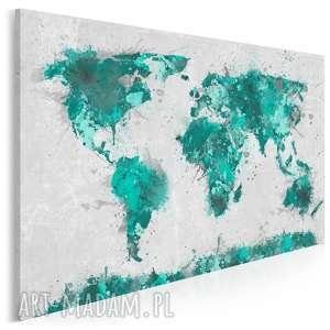 obraz na płótnie - mapa turkus 120x80 cm 06303, mapa, kontynenty, państwa