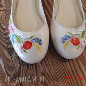 hand-made buty baleriny ani malowane w polne kwiaty