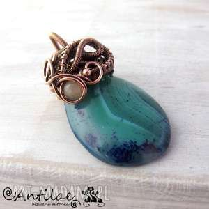 Seilide - Agat, miedź, wire wrapping, wisiorek, agat, wirewrapping