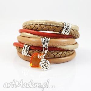 bransoletka - pomarańczowe serce rzemienie, owijana, bransoletka, owijana