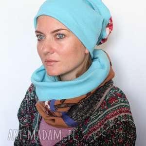 komplet patchworkowy kolorowy damski, komplet, czapka, patchwork, komin, etno, zima