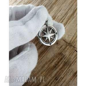 jegobizu róża wiatrów srebrna zawieszka, kompas, wiatrów, srebrny