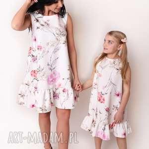 LATORI - Sukienka dziewczęca z kolekcji Mama i Córka dla córki LD41/3 (kwiaty)