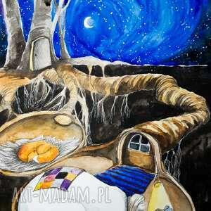 zimowe czytanie akwarela artystki adriany laube - obraz na papierze a3