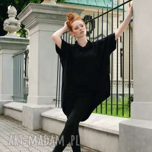 hand made bluzy bluza damska tunika luźna asymetryczna czarna
