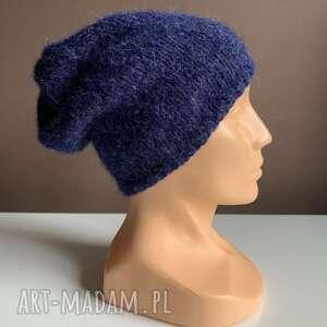 ręcznie wykonane czapki robiona czapka hand made granatowa alpaka