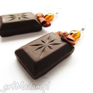 upominek świąteczny KOLCZYKI czekoladki, kolczyki, czekolaki, czekolada, modelina