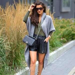 asymetryczny długi sweter płaszcz, długi, dziany, sweter, gruby