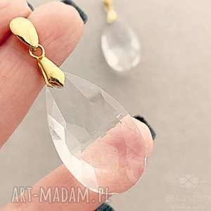 kryształowe krople - kolczyki, sztyfty, srebro, kryształ, łezka, eleganckie