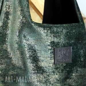 hand made na ramię boba dotyk worek xxl, kolor zieleń malachit z przebłyskiem starego