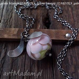 Z KRAINY ELFÓW naszyjnik z lampworkiem, lampwork, szklany, koral, kwiat, srebro