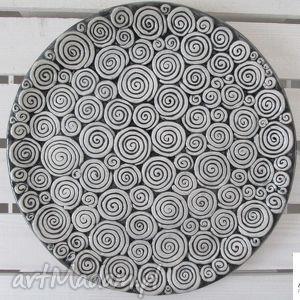 ceramika ana patera w ślimaczki, talerz, ceramiczny, ceramiczna, dom