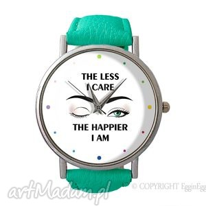 the less i care - skórzany zegarek z dużą - szczęście