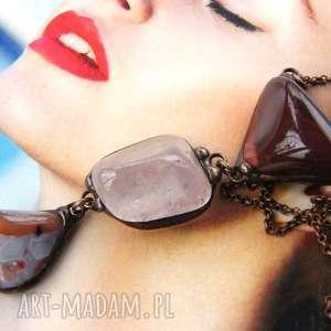 Secesyjny wisior z łańcuszkiem: Bordowy, długi-naszyjnik, wisiorek-z-kamieni