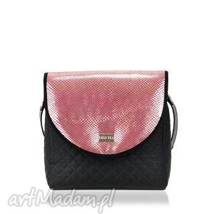 na ramię torebka puro 736 pink vintage, wymienne, klapki, różowa, złota, pikowana