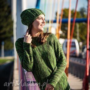Zielony melanżowy sweter, melanż, zielony, wełna