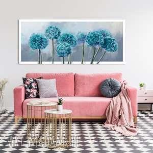 obraz drukowany na płótnie - turkusowe kwiaty hortensji, kwiaty, hortensja